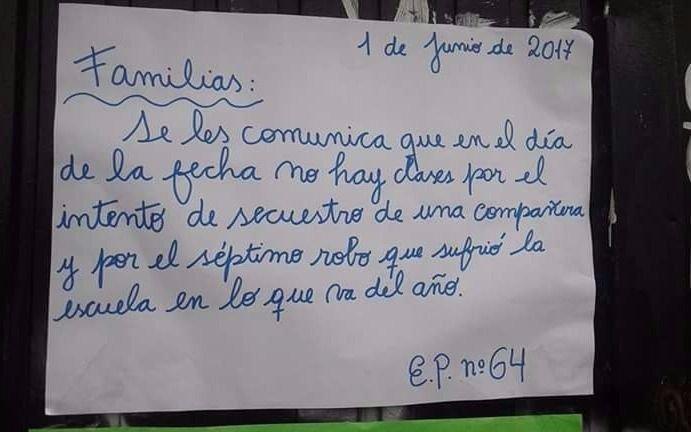 Suspenden las clases en una escuela de Quilmes por la inseguridad
