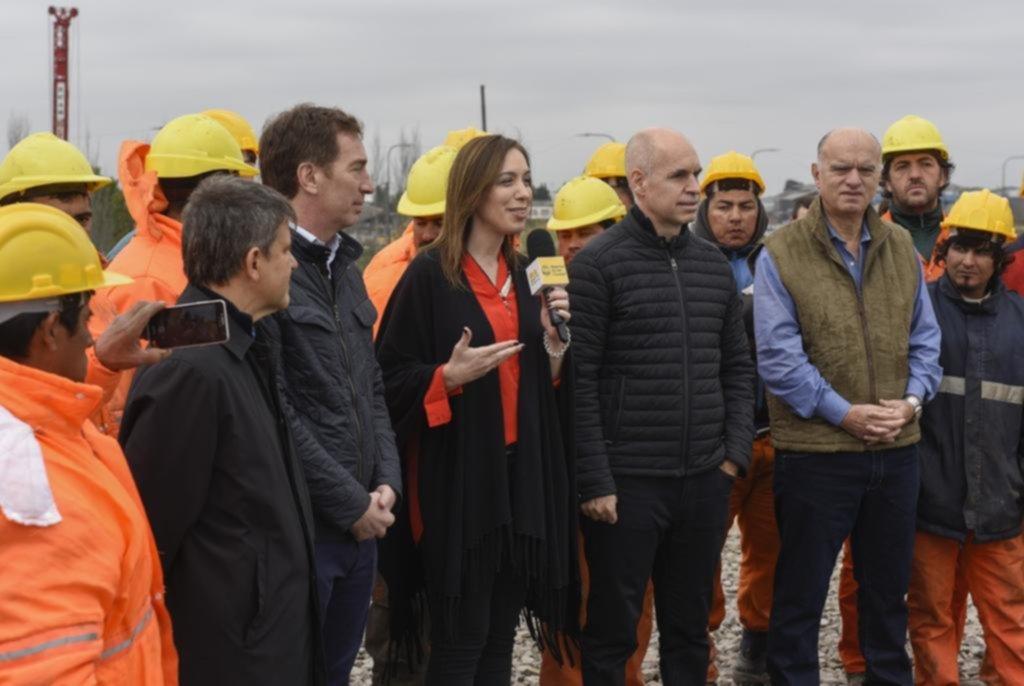 Vidal, Rodríguez Larreta y Grindetti visitaron la obra del Puente Lacarra