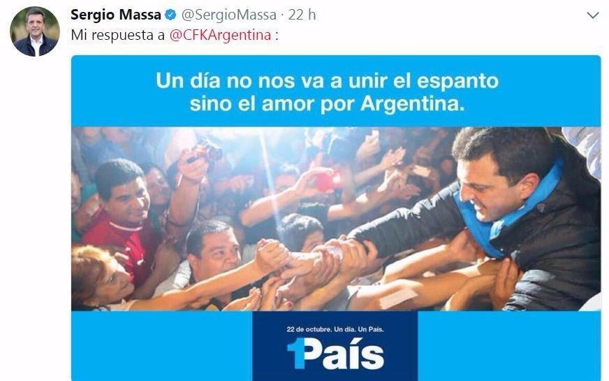 """""""El diálogo con quienes nos dividieron no es posible"""" le dijo Massa a Cristina"""