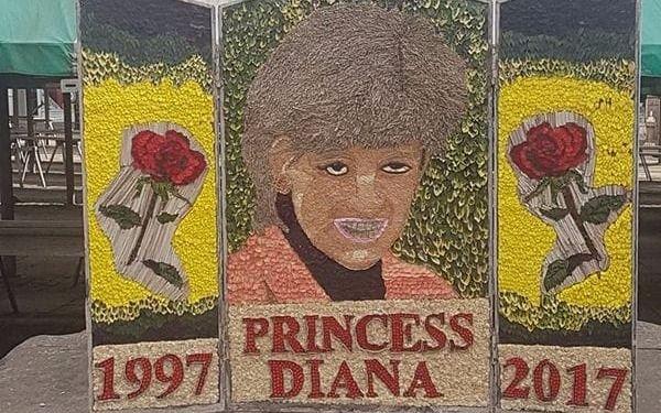 Un retrato floreal de Lady Di generó indignación y burla en el Reino Unido