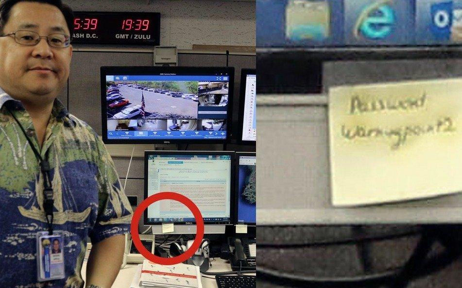 El encargado de emitir alertas de misiles en Hawai se fotografió con la contraseña