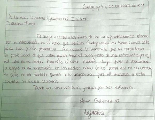 Nahir escribió una carta de puño y letra desde su celda