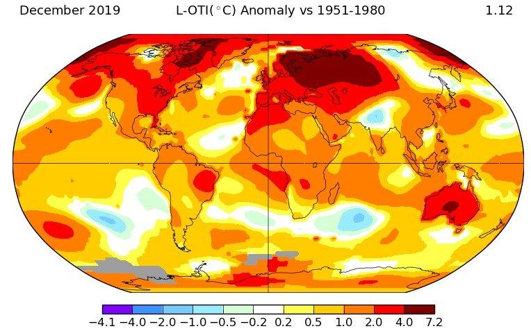 El 2019 fue el segundo año más caluroso  de la historia para la NASA
