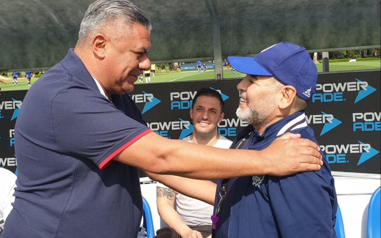 Maradona se reunió con Chiqui Tapia en Ezeiza