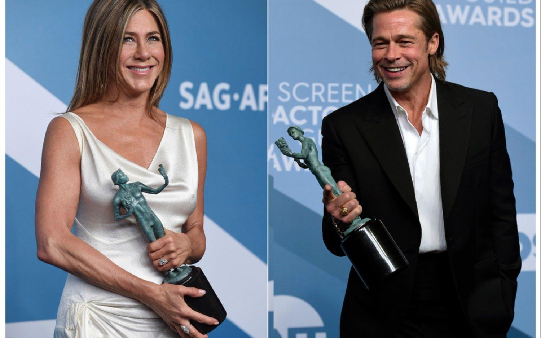 Brad Pitt y Jennifer Aniston se llevan todas las miradas durante una entrega de premios