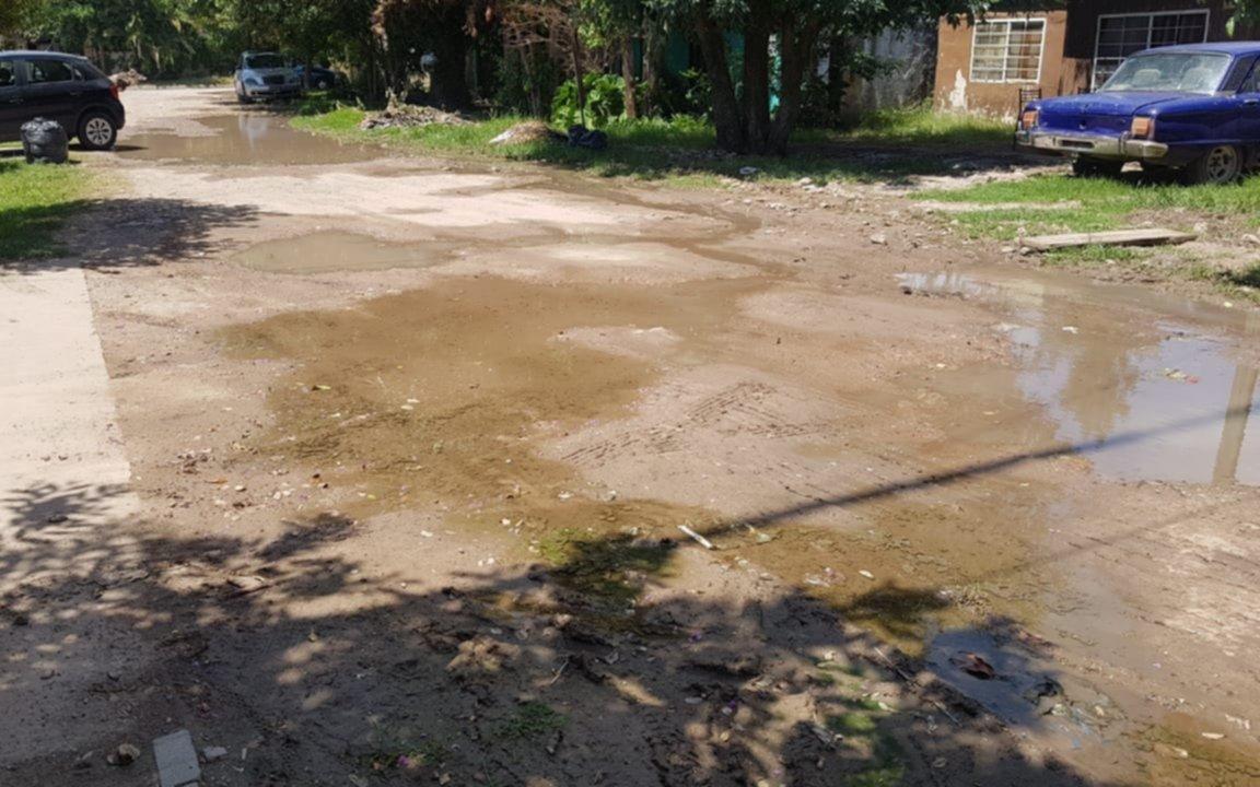 """""""Somos la calle olvidada"""": vecinos de una cuadra de Los Hornos denuncian que viven en un pantano, con un caño roto y sin limpieza"""