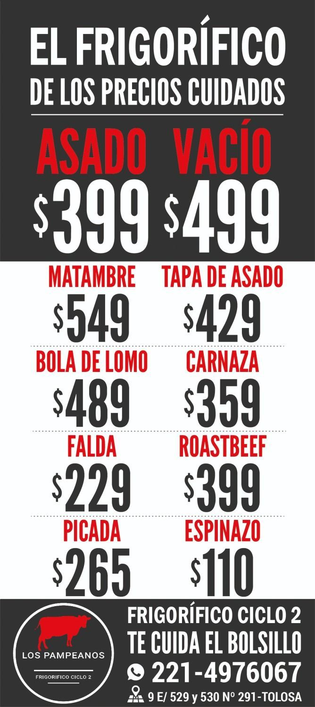 Asado a $399 y vacío a $499 en Frigorífico ciclo 2 Los Pampeanos