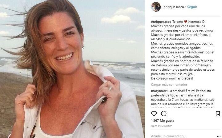 Enrique Sacco publicó un sentido mensaje para Débora Pérez Volpin