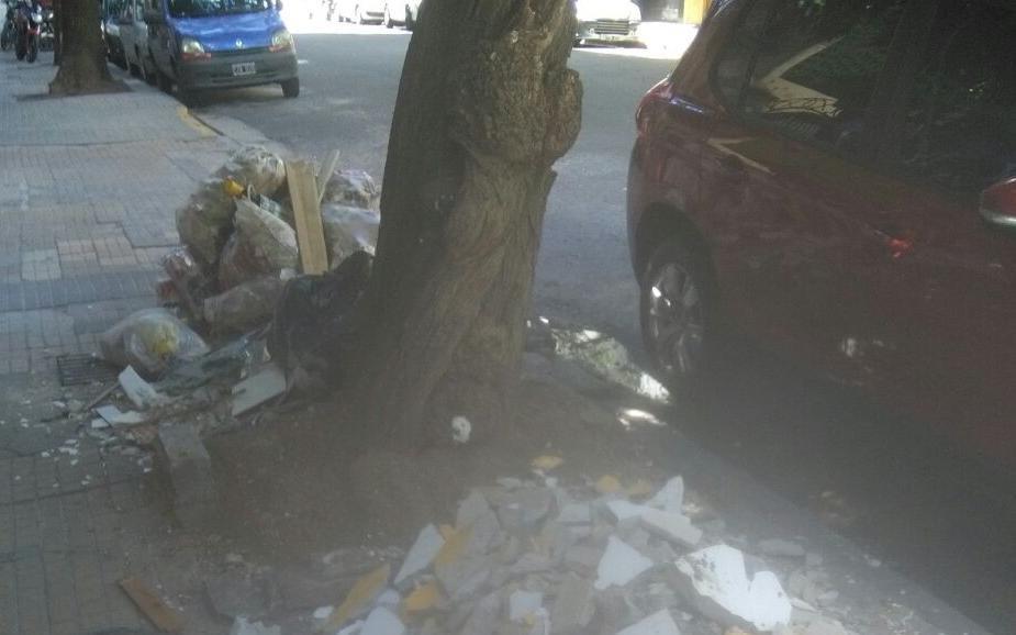 Basural y escombros en pleno centro