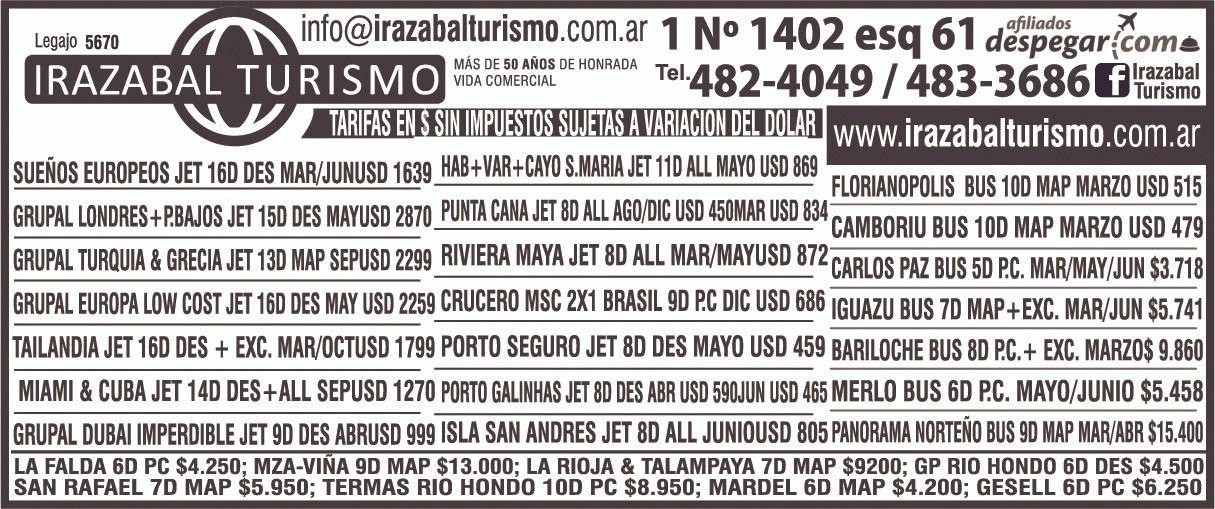 Concretá tu próximo viaje con Irazabal Turismo