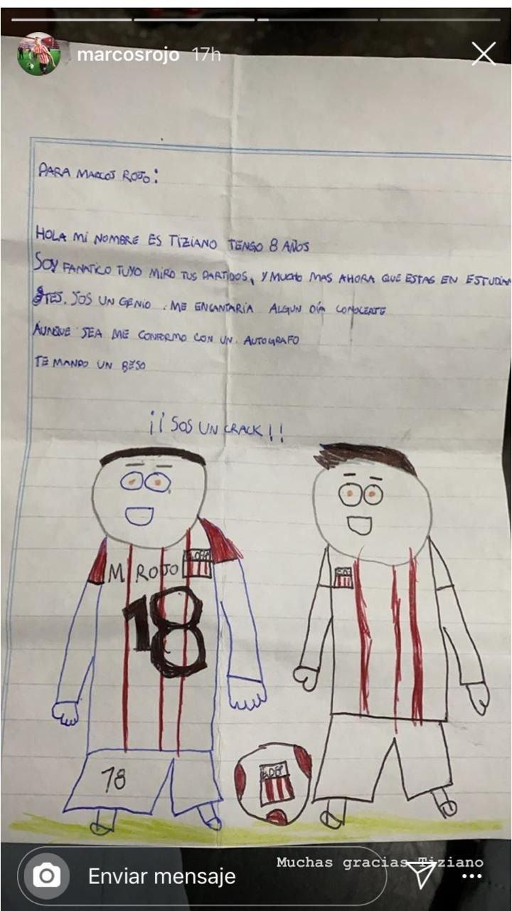 Un nene le escribió una tierna carta a Rojo y el defensor la compartió en sus redes