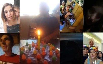 Pese a la cuarentena, una familia se reunió en un video y Bruno festejó su cumple a lo grande