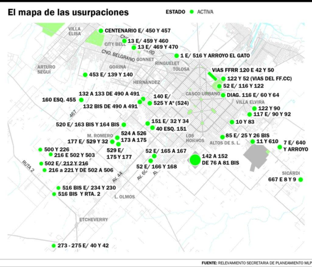 La Plata tiene la toma de tierras más grande de la Provincia y otras 35 usurpaciones activas