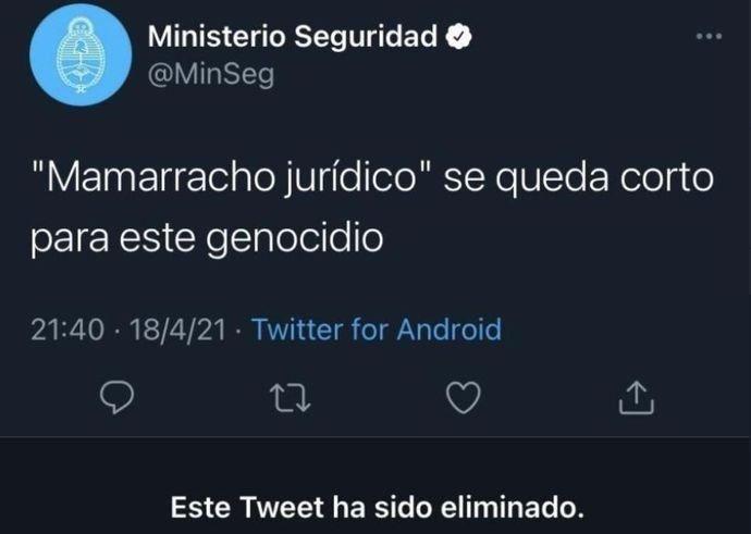El polémico tuit que el ministerio de Seguridad subió, borró y por el que debió disculparse