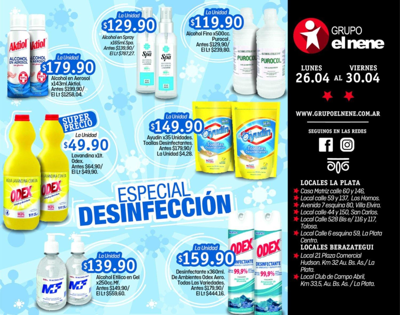 Aprovechá el Especial Desinfección del 26 al 30 de abril