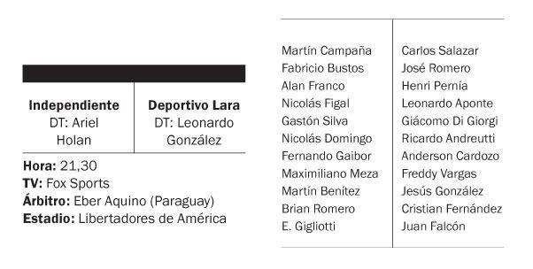 Independiente va por la clasificación ante Deportivo Lara