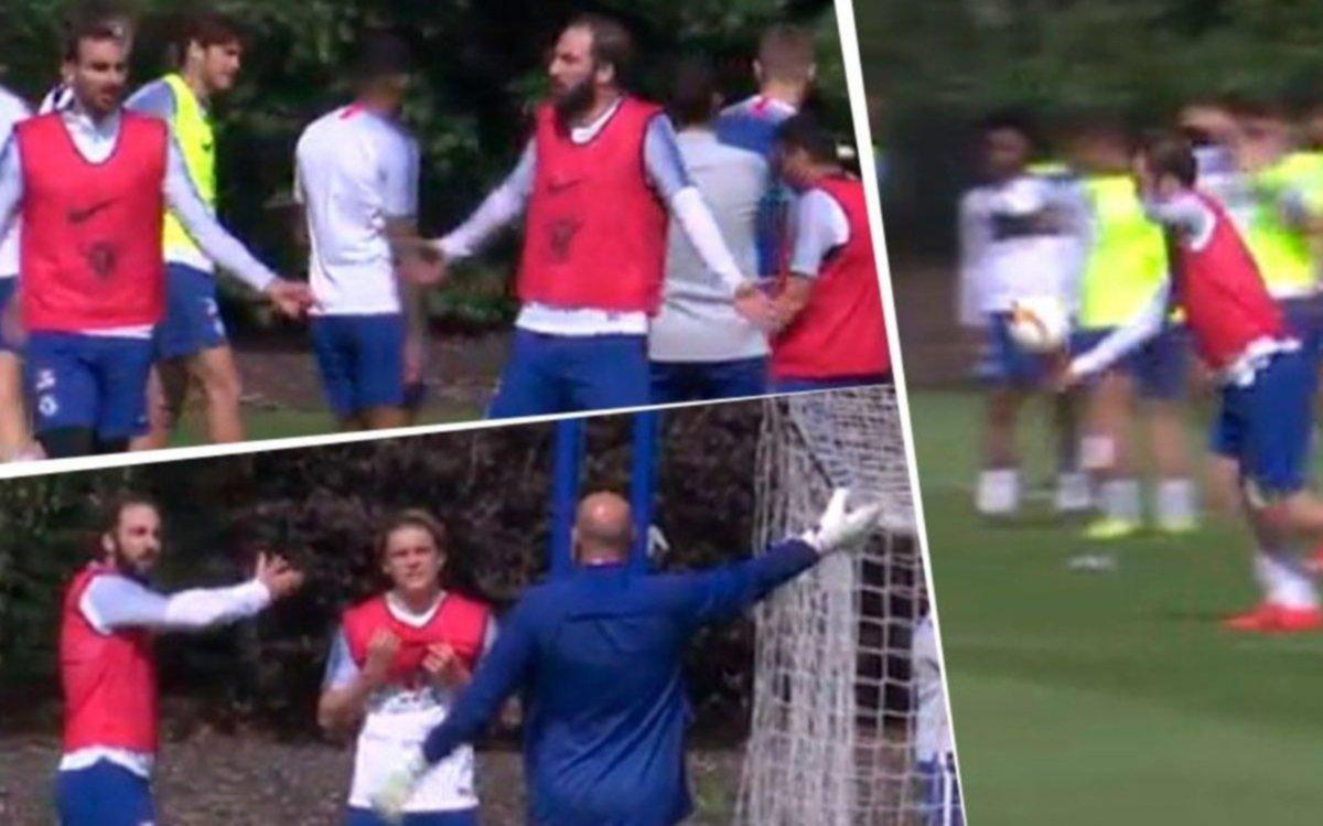 Higuaín furioso en una práctica del Chelsea se peleó con dos compañeros