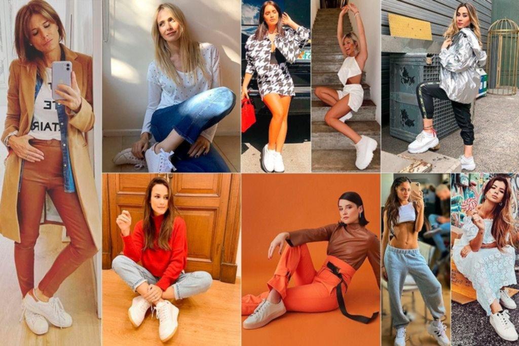 Blancas y radiantes, las zapatillas de moda