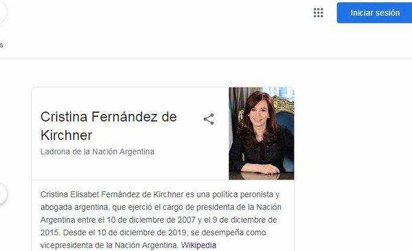 """Revuelo en las redes por el error de Google al buscar """"Cristina Kirchner"""" - Política y Economía"""