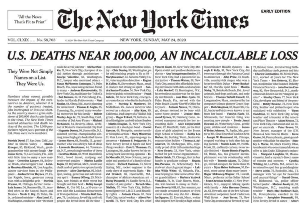 La lista con el nombre de 1.000 personas fallecidas de la que habla el mundo entero