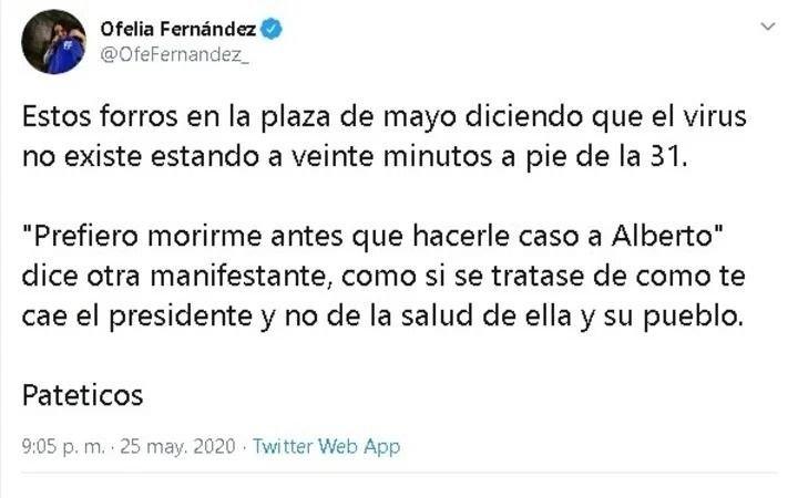 El exabrupto de Ofelia Fernández por la manifestación contra la cuarentena