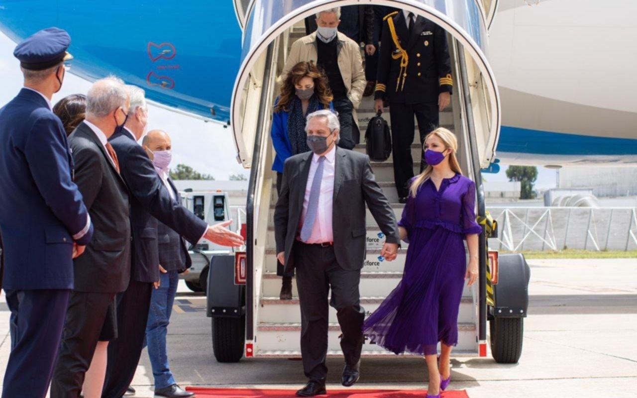Alberto Fernández arribó a Portugal acompañado por la primera dama, Fabiola Yáñez, y la comitiva de gobierno