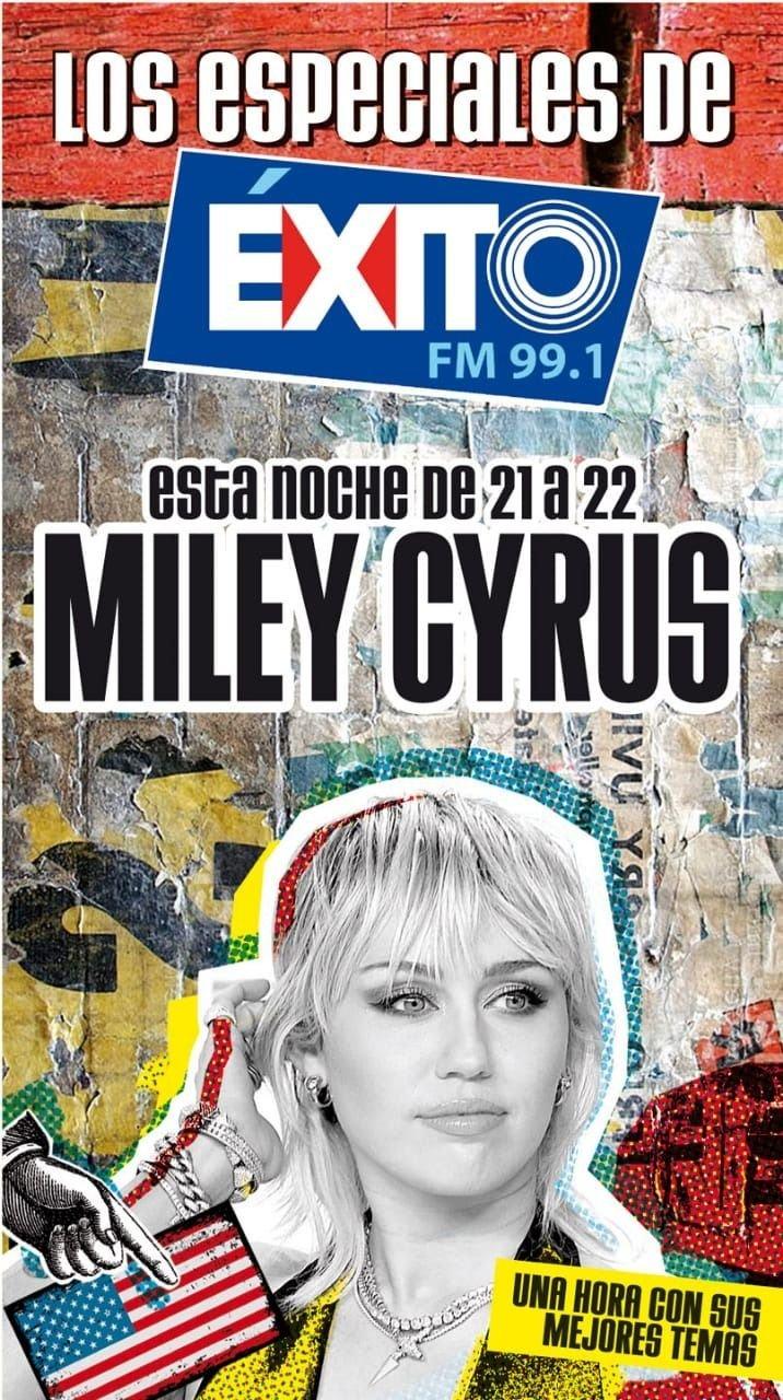 Miley Cyrus será esta noche protagonista de lujo del especial de Éxito FM 99.1