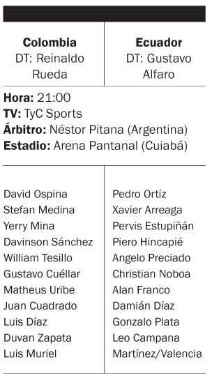 Colombia y Ecuador debutan en Cuiabá