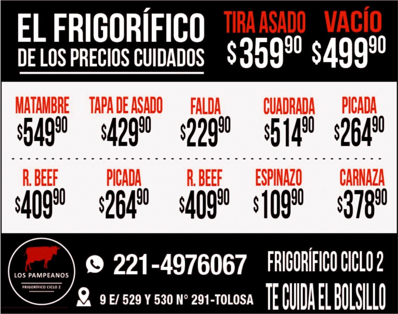 Tira de asado a $359,90 y vacío a $499,90 en Frigorífico ciclo 2 Los Pampeanos
