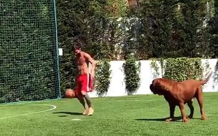 Messi agarra la pelota y enloquece hasta el perro