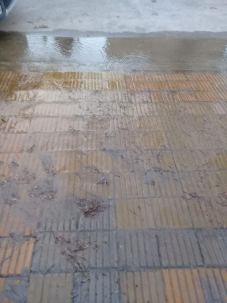 Una cuadra inundada por dos pérdidas de agua
