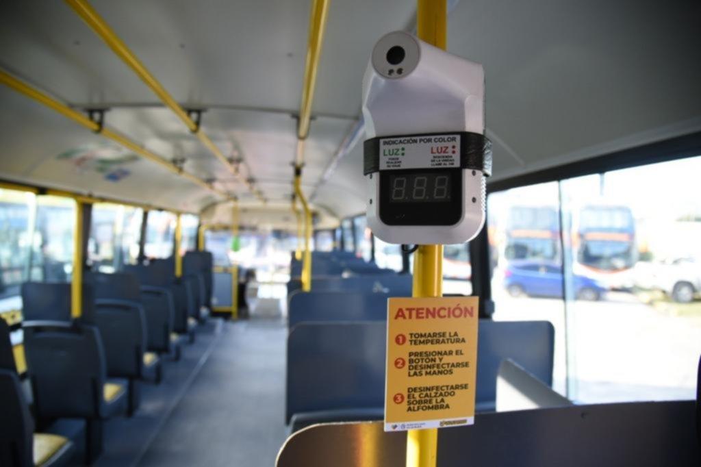 Los micros tendrán termómetros fijos para testear a los pasajeros