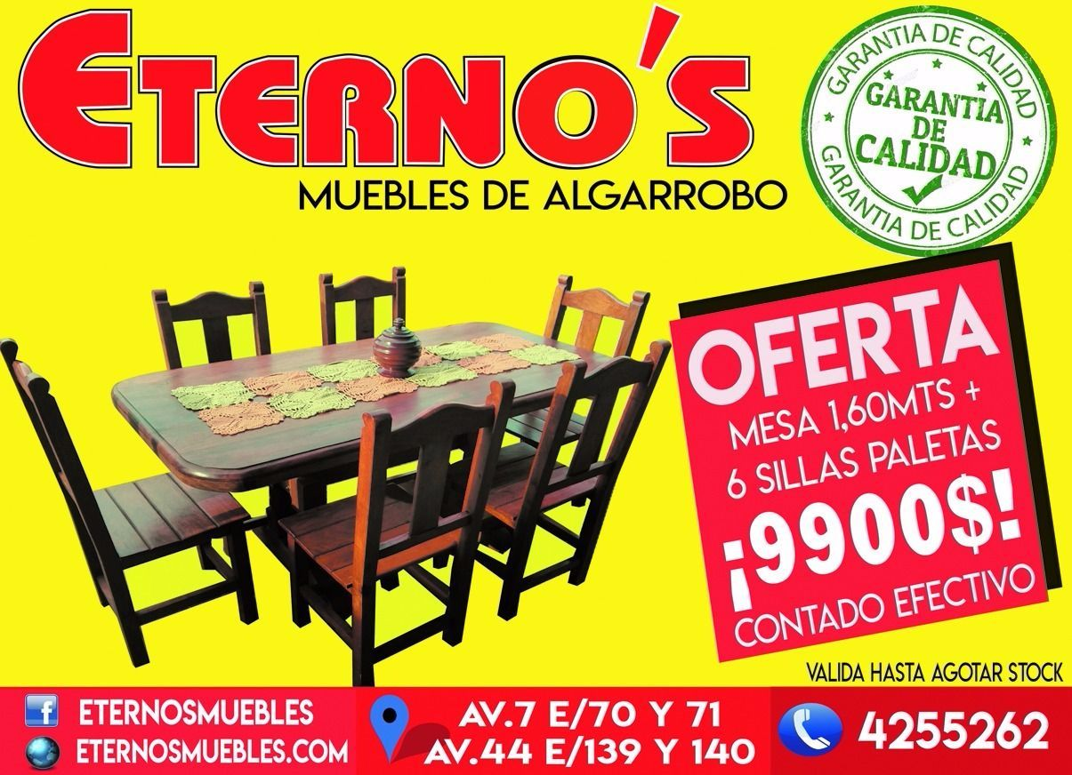 Super promoci n mesa seis sillas de algarrobo 9900 for Muebles de algarrobo en la plata