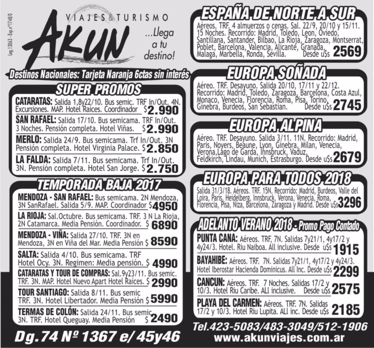 Akun te brinda lo mejor en viajes  y turismo: consultá planes y promociones
