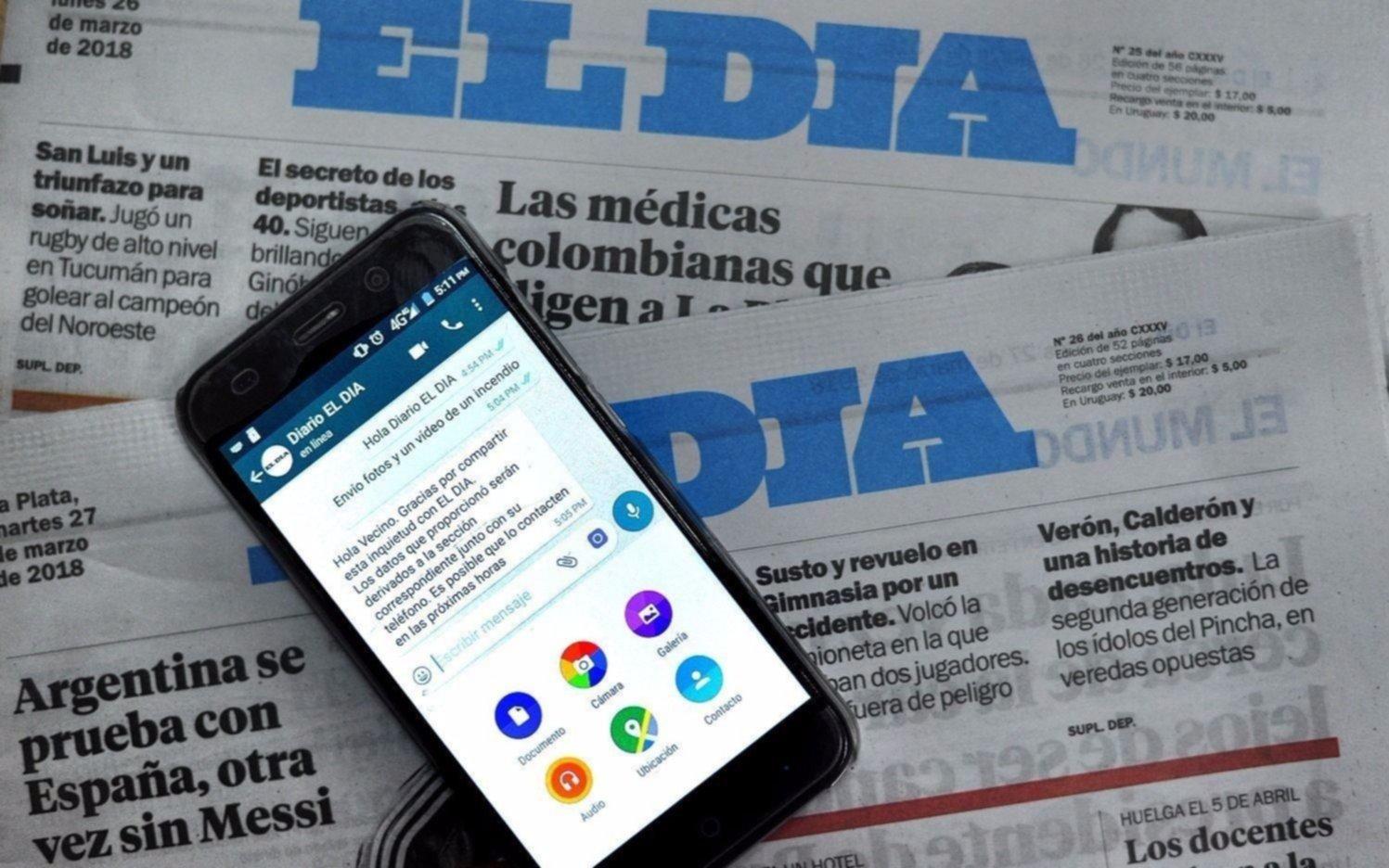 """EL DIA, siempre """"en línea"""" en Whatsapp: Mandá tu reclamo al 2214779896 y lo haremos público"""