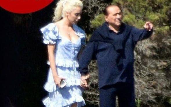 ¡Miralo vos! Berlusconi salió a pasear con su novia 53 años menor que él