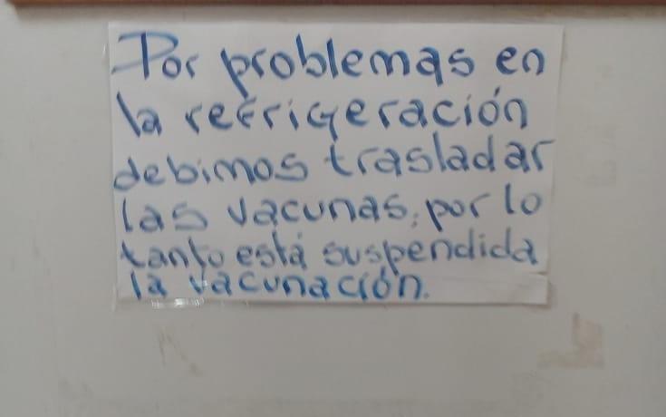 Un centro de salud en el barrio El Carmen no pudo vacunar por problemas en la heladera