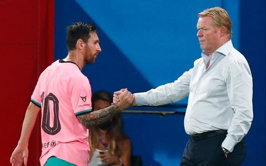 Messi: dos goles en amistoso ante el Girona  y frío saludo con Koeman al salir del campo