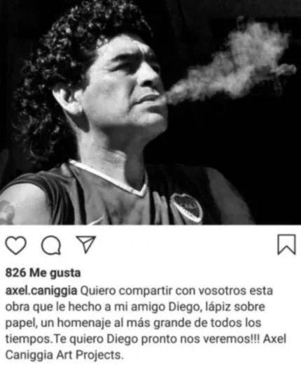 El impactante retrato de Diego Maradona que dibujó Axel Caniggia íntegramente a lápiz