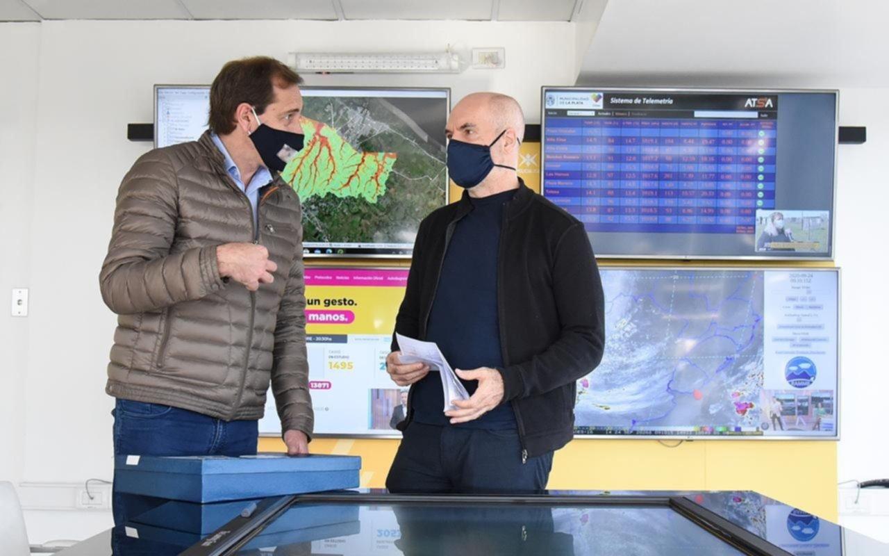 Garro y Rodríguez Larreta firmaron un acuerdo para prevenir inundaciones