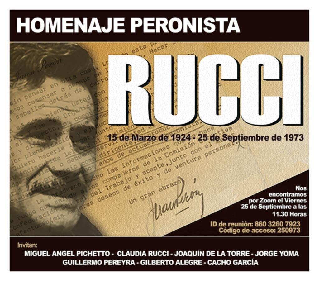 Un homenaje a Rucci, la excusa para ir moldeando la pata peronista de Cambiemos