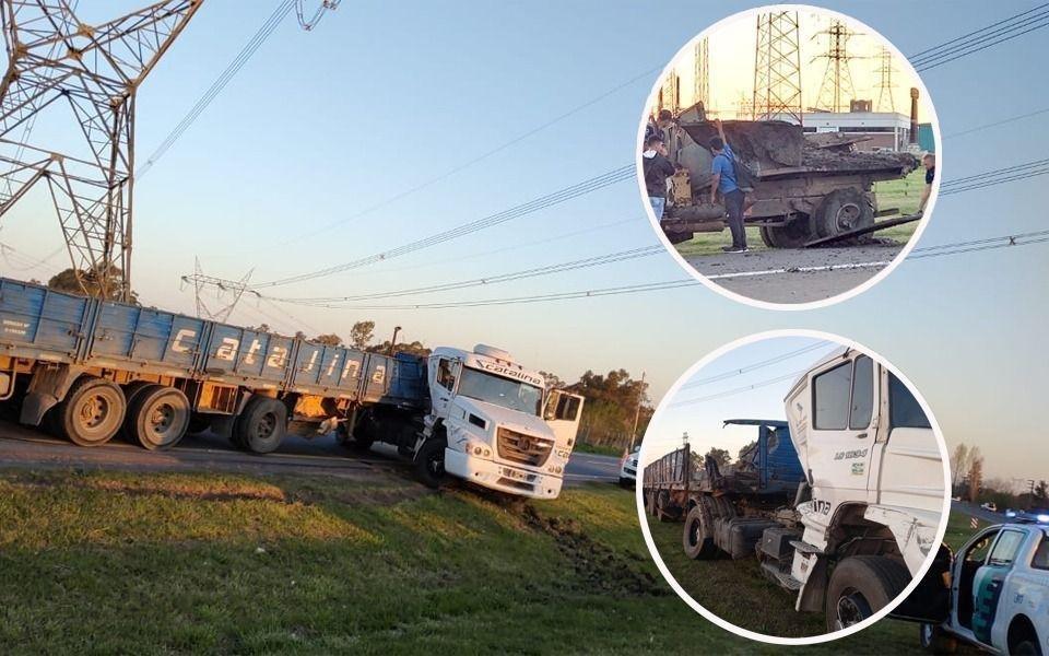 Fuerte choque de dos camiones complicó el tránsito en la Autovía 2
