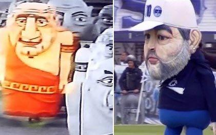 Los memes por el muñeco de Maradona, no faltaron en las redes