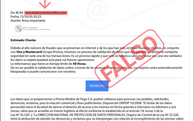 Advierten sobre una nueva modalidad de ciber estafa con un mail del Banco Central