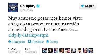 Coldplay canceló su gira y finalmente no vendrá a La Plata