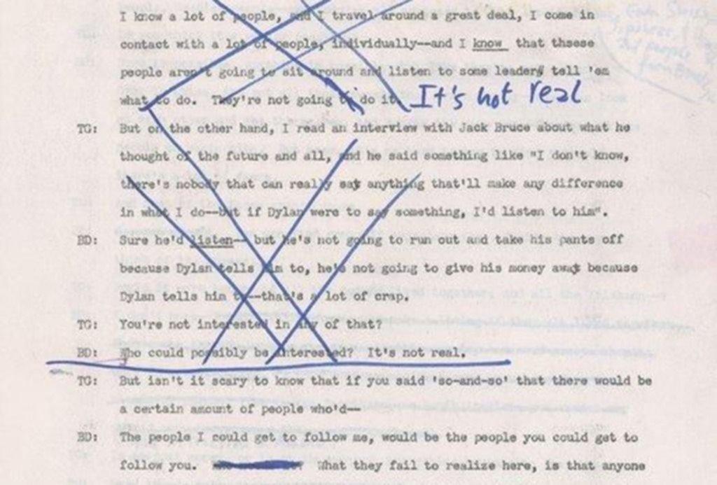 Revelaciones del pensamiento de Bob Dylan en entrevistas perdidas