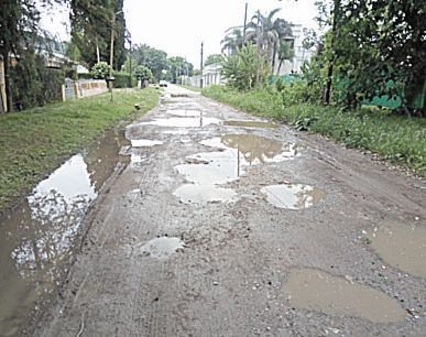 Una calle intransitable en Villa Elisa