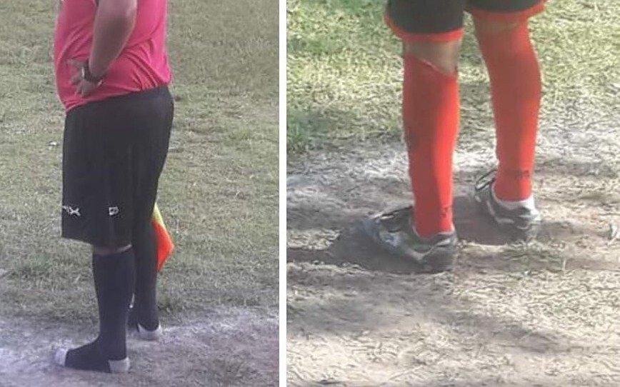 Gran gesto en el fútbol infantil: línea terminó en medias por prestar sus botines a un chico