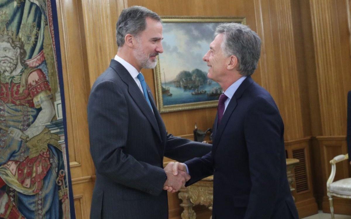 Macri se reunió en Madrid con el rey Felipe VI