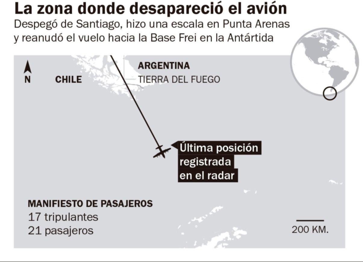 Desapareció un avión de la Fuerza Aérea de Chile con 38 personas